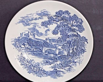 Vintage Enoch Wedgwood Countryside 10 Inch Dinner Plate Blue and White China