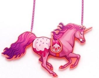 Strawberry Sundae Unicorn Acrylic Necklace
