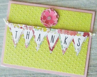 Thank You Card, Blank Homemade Thank You, Hand Stamped Floral Thank You Card, Floral Thank You, Blank Thank You Note Card