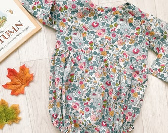 POSY Handmade Liberty Print Long Sleeve Playsuit Babies Toddlers