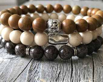 Gemstone men bracelet set, brown bohemain bracelets, bracelet men gift idea , wanderlust bracelets, rock bracelet, stretch stacking bracelet