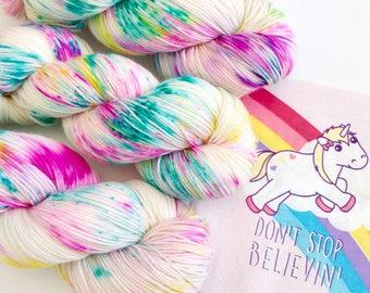 Enchanted Unicorns. Hand painted yarn. Hand Dyed Yarn.Super Soft luxury 100%  Merino 100g. 4 ply yarn fingering weight. Unicorn yarn.