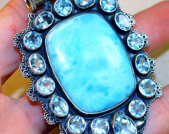 Giant Caribbean  Larimar with Blue Topaz   set in Solid 925 Sterling Silver Pendant