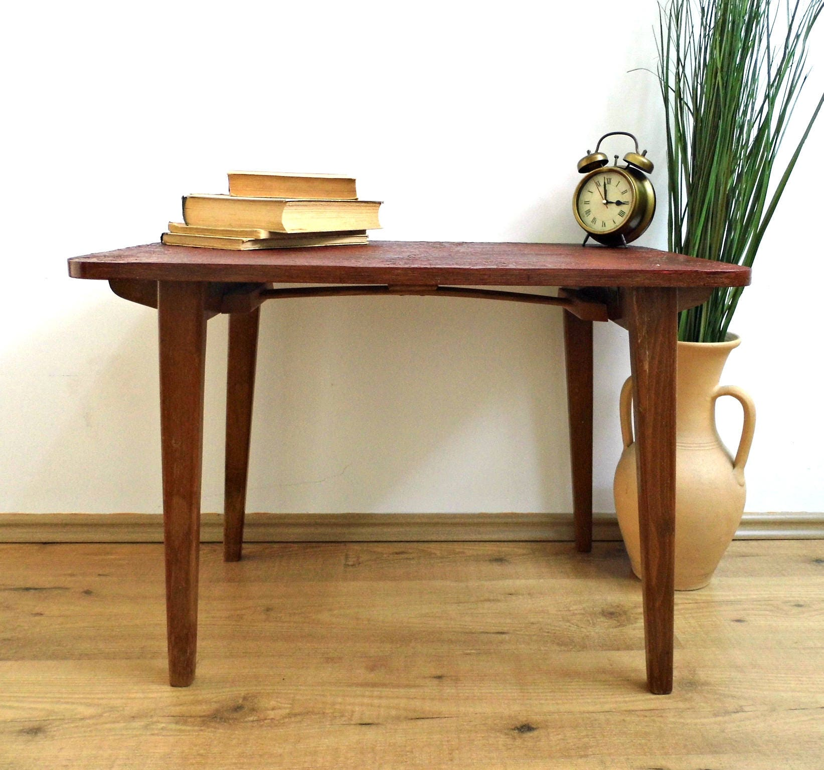 Antique Coffee Table With Folding Sides: Vintage Folding Coffee Table Lace Top End Side Table Mid