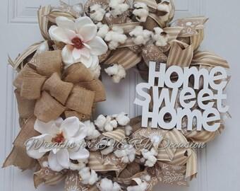 Home Sweet Home burlap cotton magnolia wreath
