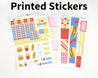 A La Carte - Burgers + Fries - Plum Paper Planner Vertical Weekly Sticker Kit - Planner Stickers - PPWK-007