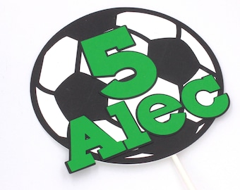 Soccer Ball Cake Topper, Personalized Cake Topper, Soccer Themed Party Decorations, Soccer Birthday Party, Sports Cake Topper