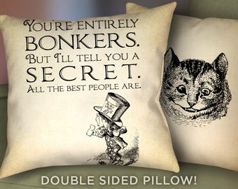 """Alice in Wonderland Pillow Cover - 18"""" x 18"""" - Cheshire Cat - Mad Hatter Bonker Pillow Cushion - Alice Pillow Case & Cushion - 2009"""