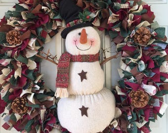 Snowman Wreath with lights