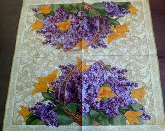 4 paper flowers, paper flowers, purple flowers paper napkins basket towel napkins