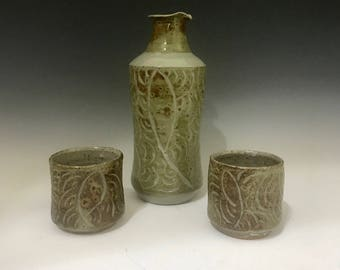 Earthtone Saki Bottle and Cups- Decanter and Unomi Cup - Whiskey Cups - Pottery Saki Bottle and Cups