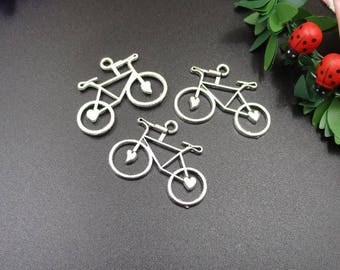 10PCS,31x24mm Silver Bicycle Charm,Vehicles, Antique Silver Tone-p1068-B