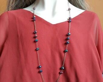 CLEARANCE Purple Shiny Long Bead Necklace