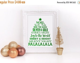 Christmas In July Sale Christmas Tree Subway Art Green Foil Digital Sign 8 X10