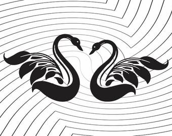 Swans in Love Clipart- SVG - PNG - JPEG - dxf - docx - Printable Clipart - Iron on Transfer for Fabric  - Vinyl Cutting - Laser Engraving