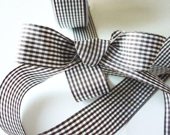 25 mm Brown and white gingham Ribbon - sold by the yard - manufacturing France