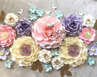 UNICORN party Paper flower backdrop/Paper flower wall/Wedding Backdrop/Holy communion/Bridal Baby shower/Sweet table/Christening /Dessert