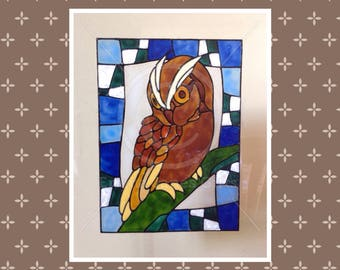Owl window cling with mosaic border, for glass & mirrors, reusable static cling decals, faux stained glass effect, decal, suncatcher