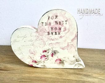 shabby chic handmade wooden heart decor for mom, gift for mom, gift heart, handmade heart, heart for mom, 3D heart stand, roses