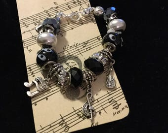 Musical Charm Bracelet, Black Glass, Bling and Music Charms, Music Lovers Gift