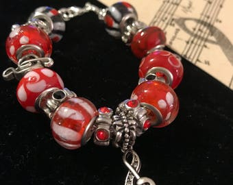 Musical Charm Bracelet,  Red and Black Beads, Bling and Treble Clef Music Charms, Music Lovers Gift