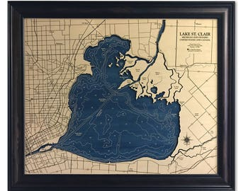 Lake St. Clair Dimensional Wood Carved Depth Contour Map - Customize With Your Home Information