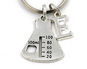 Beaker Key Ring, Personalized Science Keychain, Biochemistry Keyring, Initial Keychain, Scientist Gift, Chemist Gift, Chemistry, Laboratory