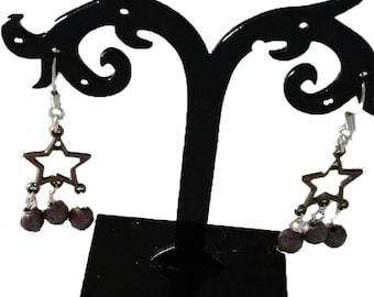 Star earrings dark purple beads