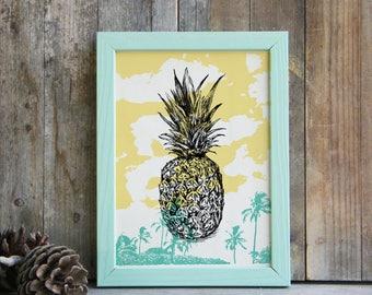 Pineapple Printable, Colorful Pineapple Poster, Tropical Wall Art, Pineapple Art, Wall Hanging, Teen Room Decor, Dorm Decor, Christmas