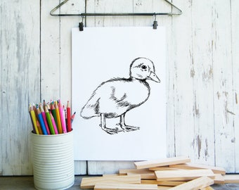 Duckling Printable, Cute Duck Poster, Kids Room Decor, Nursery Decor, Duckling, Cute Animals, Woodland Nursery, Gift For Kids, Digital art