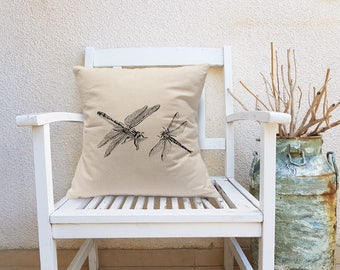 Decorative Throw Pillow, Dragonflies Throw Pillow, Nature Square Pillow, Bedroom Decor, Black And White Canvas Pillow, Square Cushion