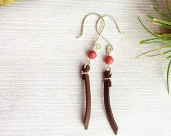 Rhodochrosite Leather Earrings >> Natural Pink Stone Jewelry >> Suede Jewelry >> Colorado Gemstone >> Bohemian Boho Jewelry >> Gifts For Her