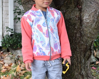 Girl's Bomber Jacket - Designer Jackets for Girls - Toddler Girl Jacket Coral and Purple design - Sweatshirt for Girls - Fall Jacket