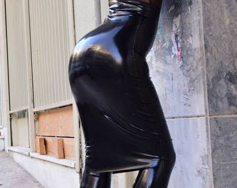 Latex Pencil Skirt. Made to measure Rubber Skirt. Shiny Skirt.