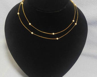 """30"""" Delicate Gold Chain with 4 mm Faux Pearl Accent Beads"""