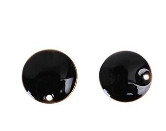 5 pendants 12mm black enamelled double sided sequins/pastilles