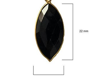 BLACK ONYX MARQUISE 11X22 mm gold single q