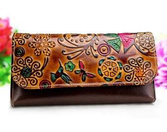 Bifold Wallet, Bird Wallet, Modern Wallet, Hand painted Wallet, original wallet, handmade women wallet