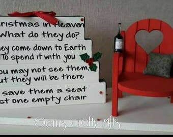 Christmas in heaven,  remembrance plaque, lost loved ones, keepsake, memorial plaque, poem set with chair