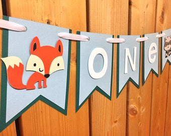 custom woodland animals ONE high chair banner, first birthday, highchair banner, one banner, 1st birthday, woodland birthday, woodland party