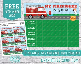 Printable Firefighter Potty Training Chart, FREE Punch Cards   High Resolution JPG File, Instant Download, Files are NOT Editable