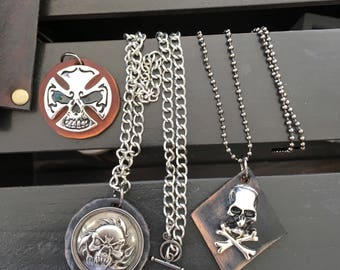 Men's Leather Necklace - Skull Necklace, Surfer Necklace