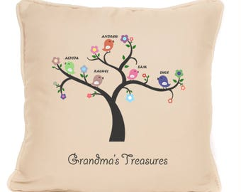 Grandma Gift - Personalised Cushion With Pad Included - Grandma's Treasures Grandchildren - 18 x 18 Inch - Perfect Gift For Grandma