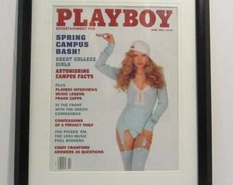 Vintage Playboy Magazine Cover Matted Framed : April 1993 - Tonja Christensen