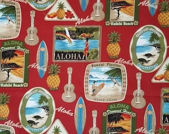 Hawaiian fabric, tropical fabric, tropical scenery, aloha fabric, ukelele fabric, surfing fabric, pineapple fabric, fat quarter