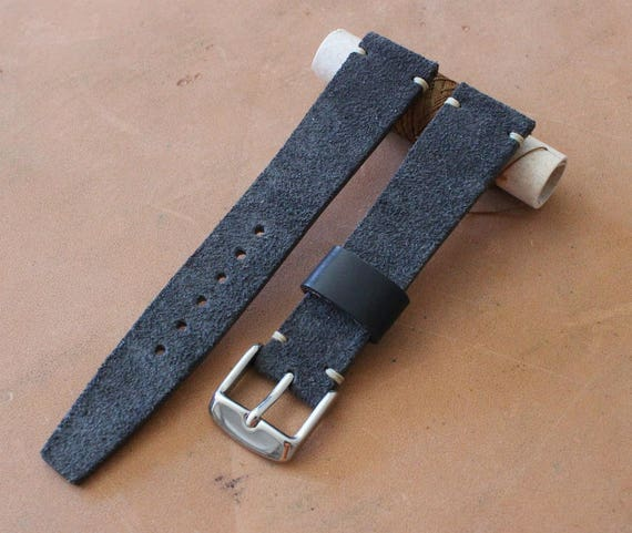 Custom Vintage Style Grey Suede leather watch band with simple stitching