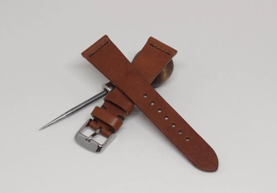 20/16mm Veg Tan leather watch band with simple stitching