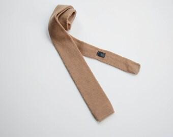 1980s Private Club Tan Knit Wool Tie