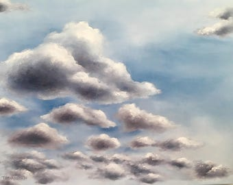 Original Cloud Oil Painting On Canvas -- Hand Painted -- Ready to HAng