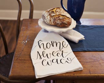 Home Sweet Waco Hand Lettered Decorative Tea Towel PREORDER